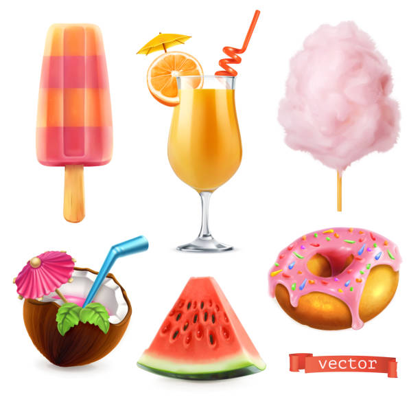 summer, sweet food. ice cream, orange juice, cotton candy, cocktail, watermelon, donut. 3d realistic vector icon set - alcohol drink silhouettes stock illustrations