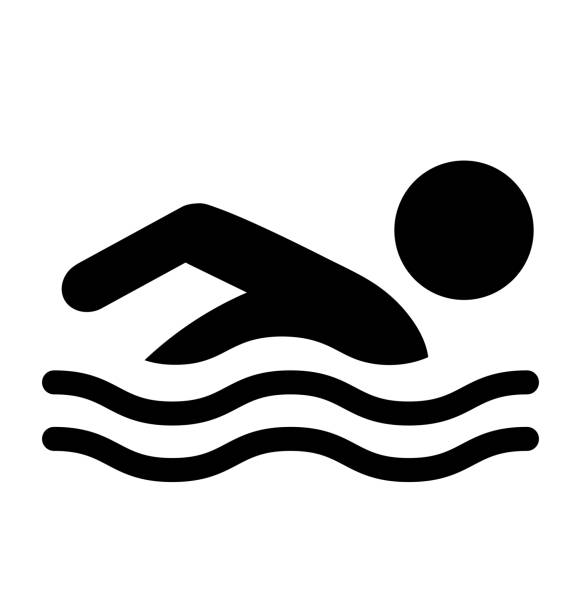 Summer Swim Water Information Flat People Pictogram Icon Isolate vector art illustration
