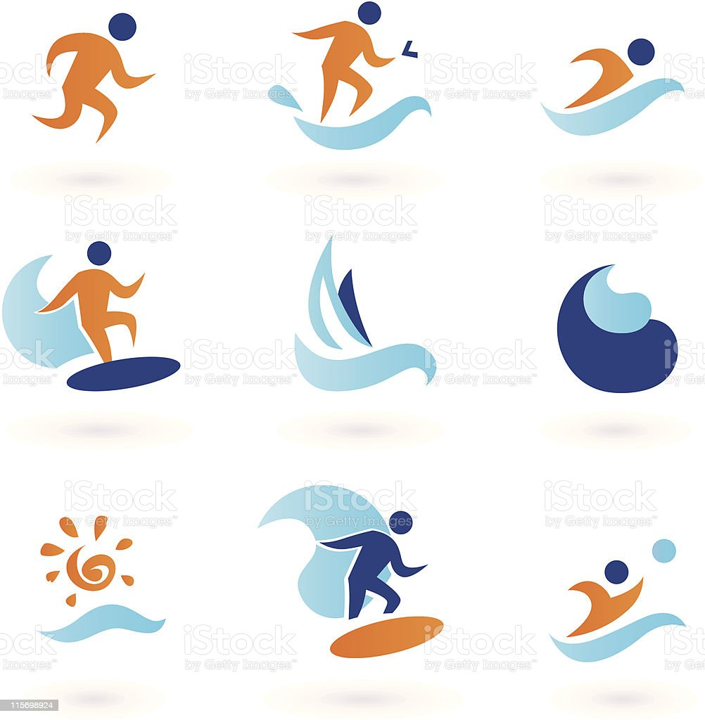 Summer swimming and surfing icons - blue, orange royalty-free stock vector art