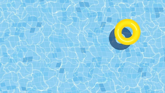 Summer swimming pool background illustration with inflatable ring
