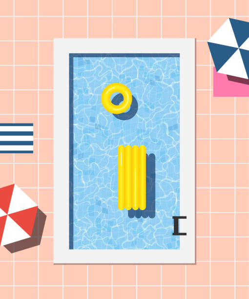 Summer swimming pool illustration vector art illustration