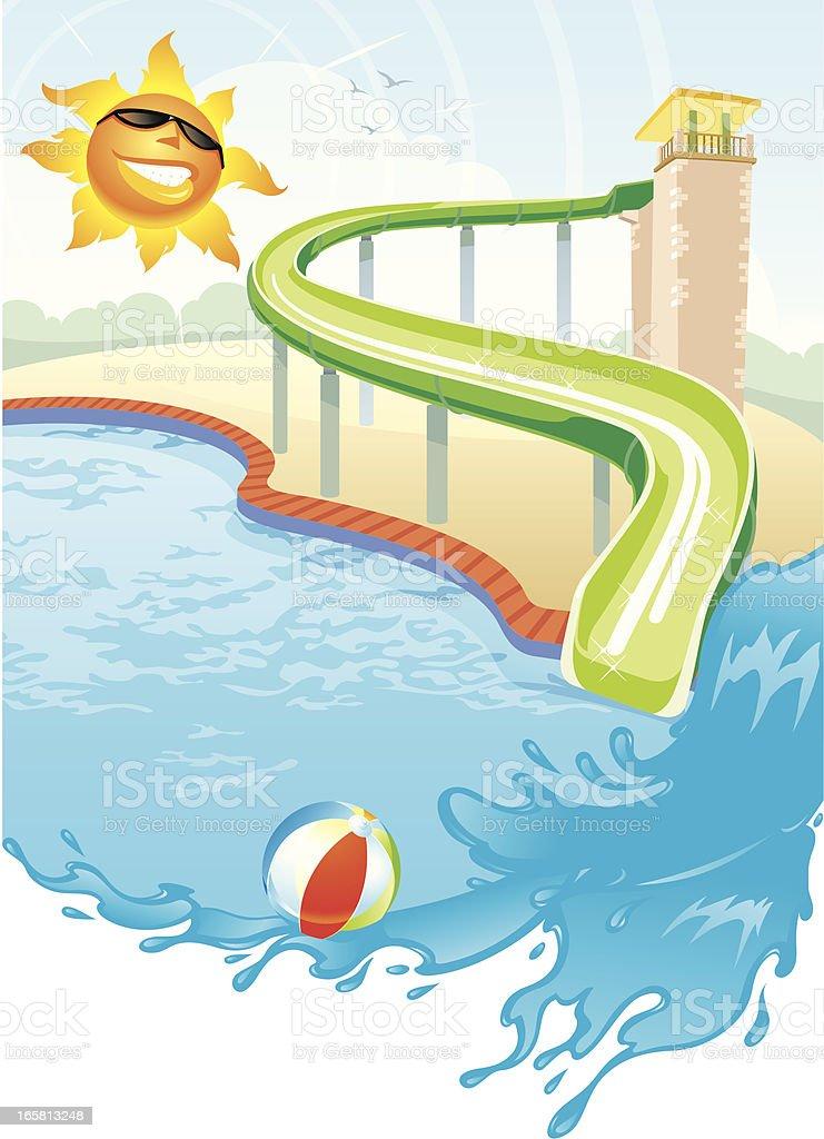 Summer Swimming Pool Slide vector art illustration