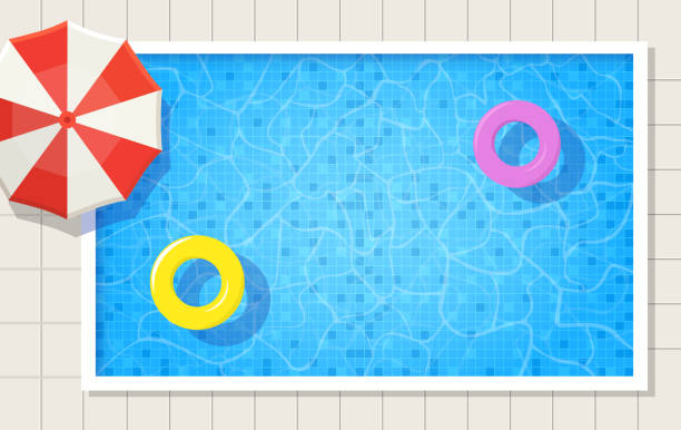 Summer swimming pool with umbrella and two swimming ring on water. Summer swimming pool with umbrella and two swimming ring on water. Top view vector illustration background. pool party stock illustrations