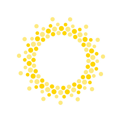 Summer symbol. Sun modern icon. Dots and points sunny circle shape. Isolated vector logo concept on white background