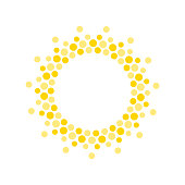 istock Summer symbol. Sun modern icon. Dots and points sunny circle shape. Isolated vector logo concept on white background 1256336066