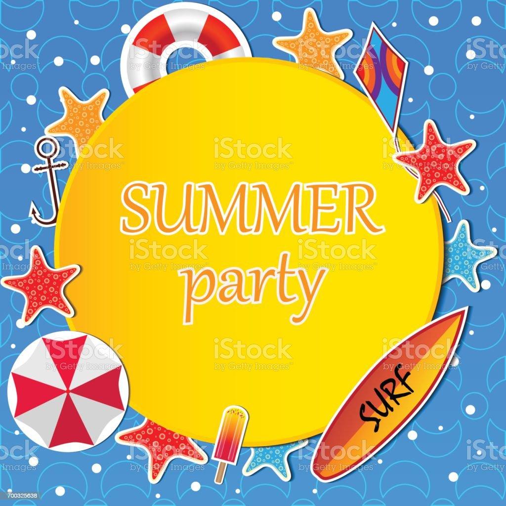 Sommervorlage Mit Einem Surfbrett Kite Sonnenschirm Rettungsring ...