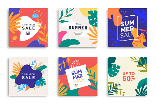 Summer templates for promo posts on social media networks. Colorful summer banner set with tropical leaves. Stories template bundle. Use for product catalog, discount voucher, advertising.