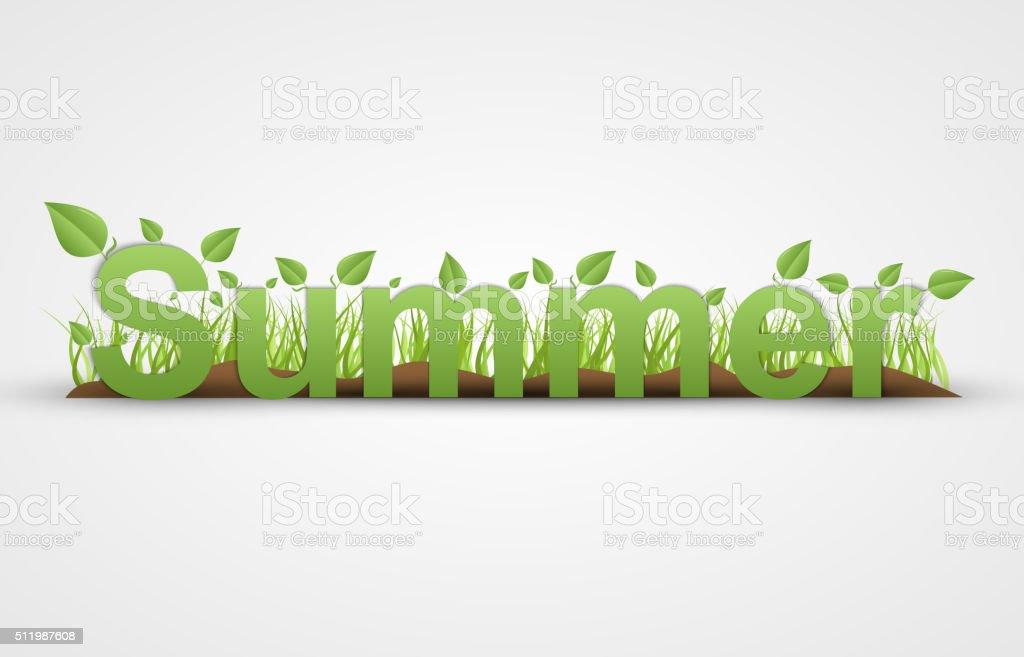 Ilustración de Texto De Verano Con Hojas De Color Verde Sobre Un ...