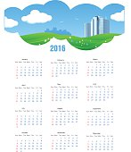 Summer Theme 2016 Calendar with Grass, Flowers and City Skyline