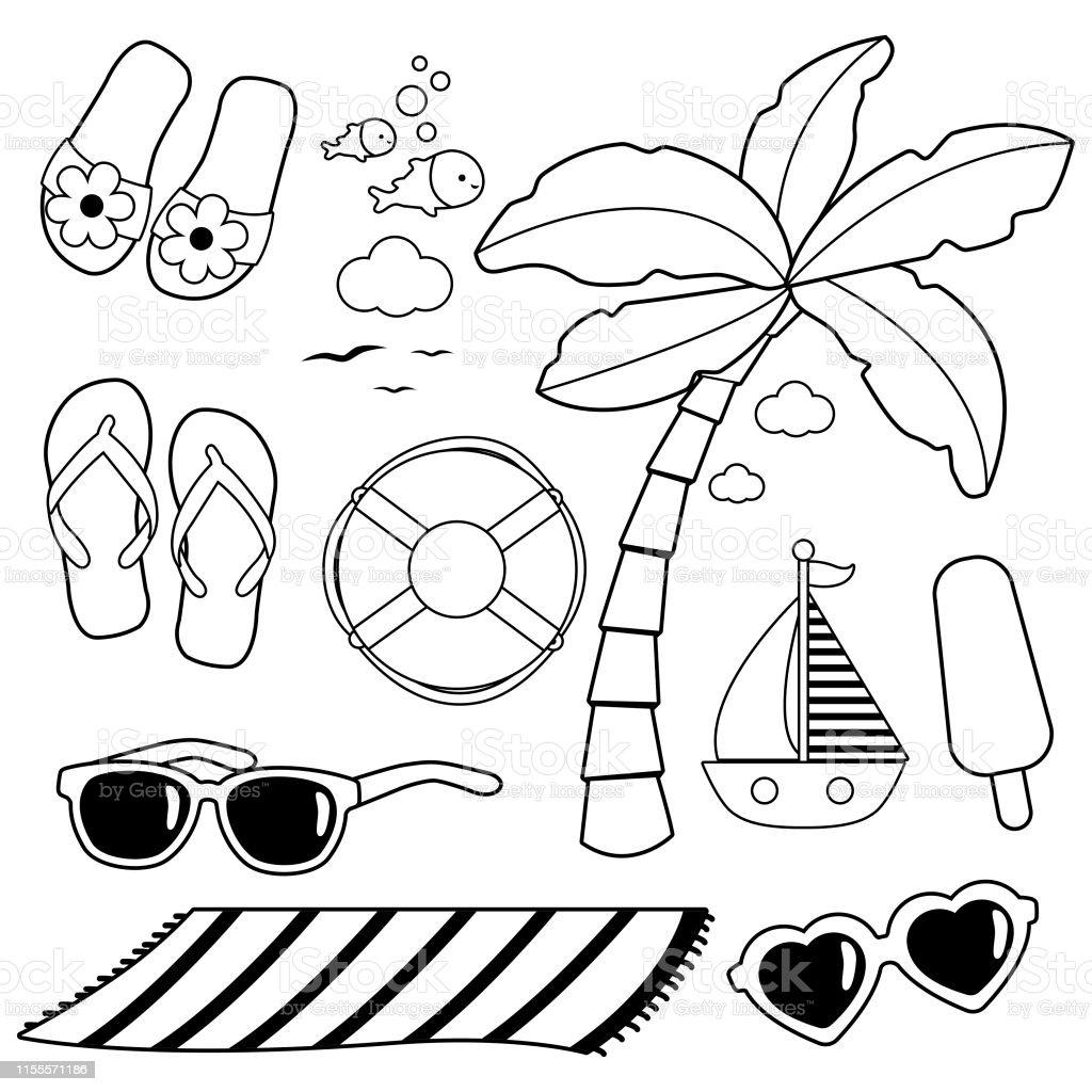 Fonkelnieuw Zomer Thema Strand Vakantie Design Elementen Vector Zwartwit TO-37
