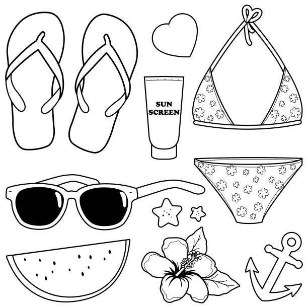 stockillustraties, clipart, cartoons en iconen met zomer thema strand vakantie design elementen. vector zwart-wit kleurplaat - slipper