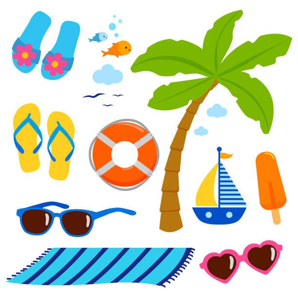 여름 테마 해변 휴가 디자인 요소입니다. - 비치 타월 stock illustrations