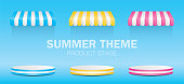 Summer theme product stand with awning 3D illustration vector.