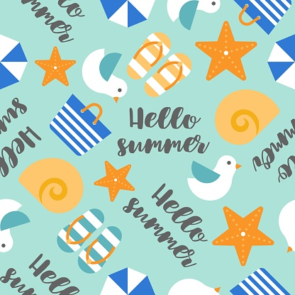 Summer theme seamless pattern with Hello summer handwriting, starfish, seagull,  tote bag, seashell and beach sandal, flat design