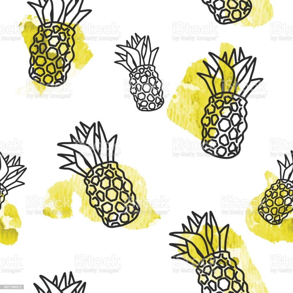 Yaz Temali Seamless Modeli Ogeleri Stok Vektor Sanati Ananas Nin