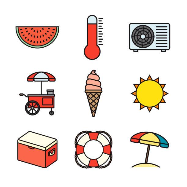 summer thin line icon set - thin line fonts stock illustrations