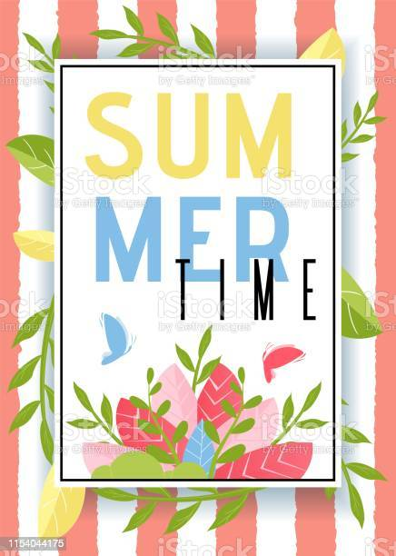 Summer time advertisement with plants leaves decor vector id1154044175?b=1&k=6&m=1154044175&s=612x612&h=vxzyfnegpoccmatz65grixfitr3muj08jtrjjop0wsc=
