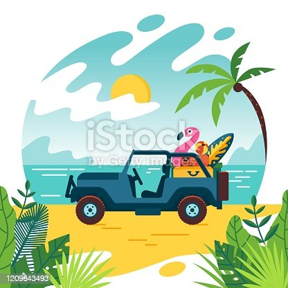 Summer time and jeep car on beach with few suitcase. Vacation and travel, a huge pile of things for the holiday. Flat cartoon style illustration, concept on white background. Vector