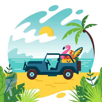 Summer time and jeep car on beach with few suitcase. Vacation and travel