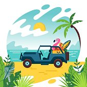 istock Summer time and jeep car on beach with few suitcase. Vacation and travel 1209643493