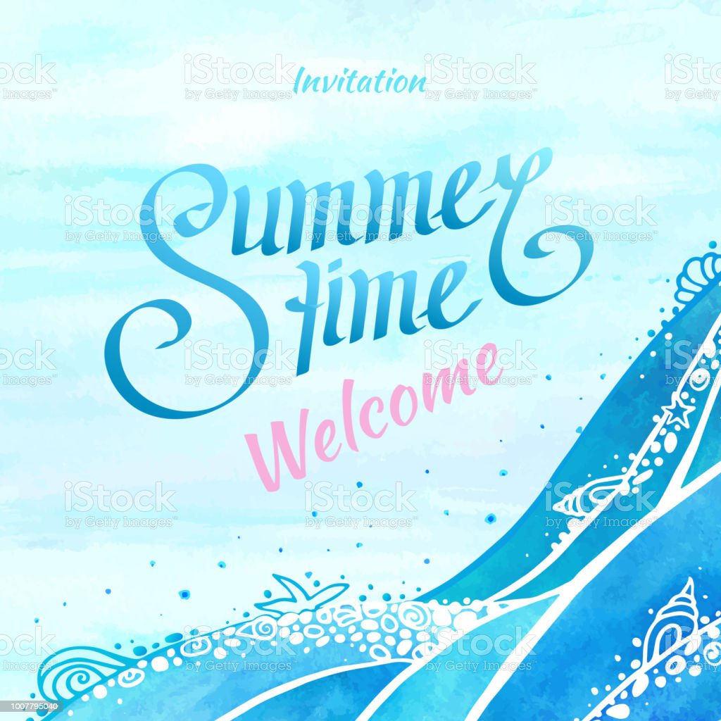 summer time and ocean wave background illustration with invitation