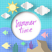 Summer Time. Paper Applique Elements and Symbols with Text illustrate the Greeting of the Summertime. Trendy Background. Template for Banner, Card, Logo, Poster. Art Design Vector Illustrations.