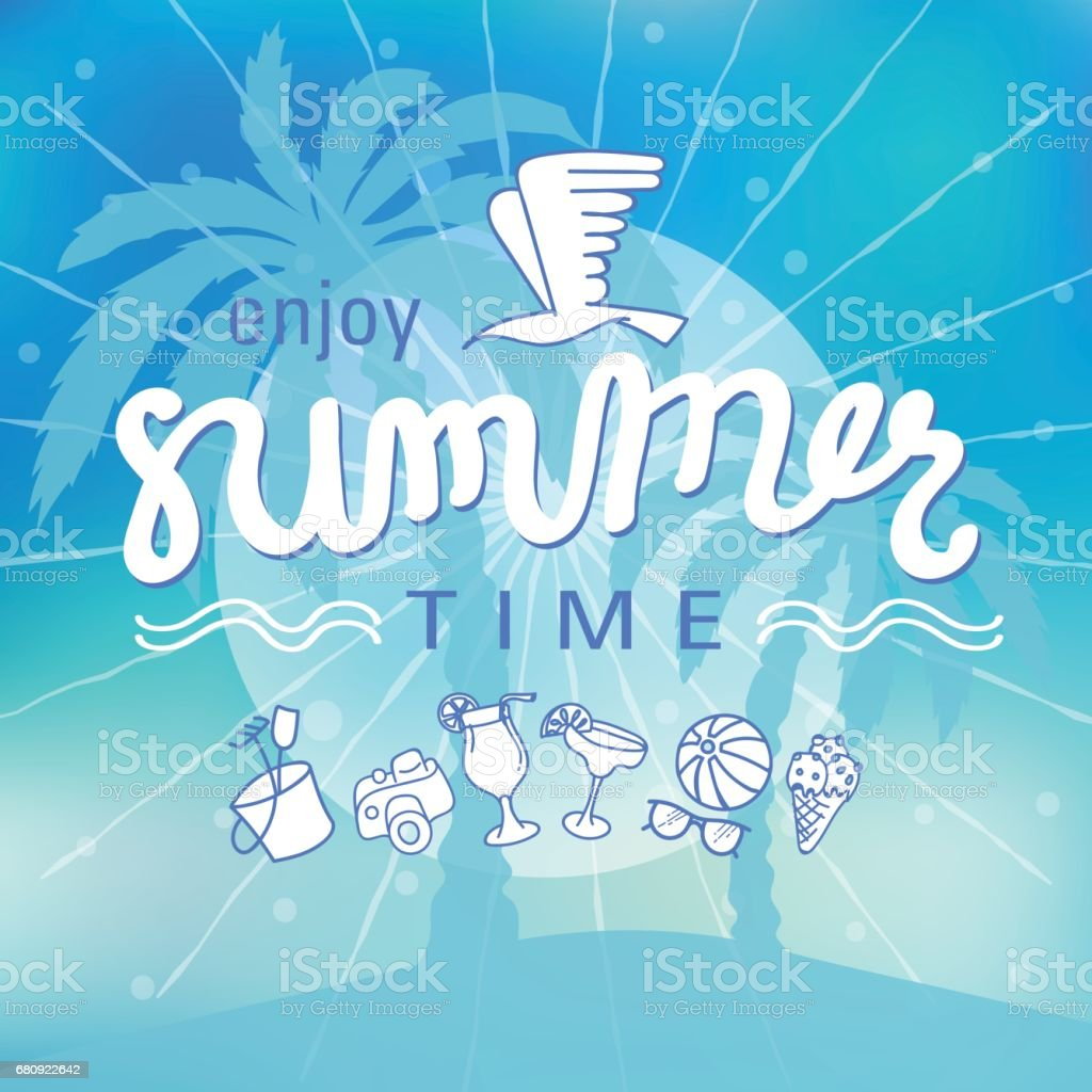 Summer time background hand letter. royalty-free summer time background hand letter stock vector art & more images of backgrounds