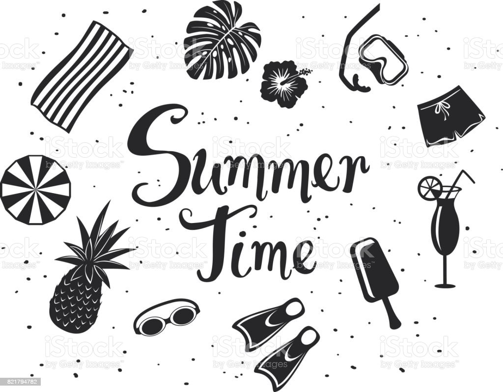 summer time  background with decorative silhouettes: snorkeling mask, pineapple, beach umbrella, towel, exotic cocktail, monstera leaf, shorts and hand written text in black color vector art illustration