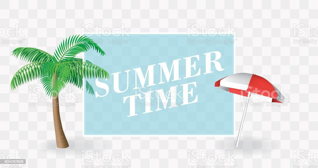 Summer Time banner template. Palm tree and sun umbrella with a transparent place for text. Vector for holiday poster. vector art illustration