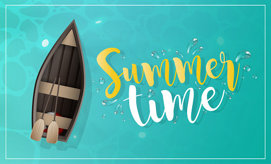 Summer time banner. Wooden boat with oars. Turquoise water surface in the ocean. View from above. Vector.