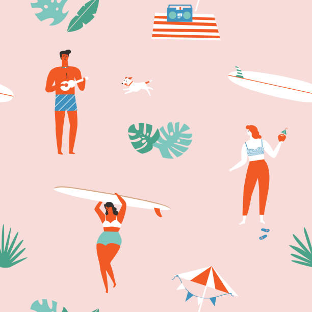 Summer time beach fun seamless pattern in vector. vector art illustration