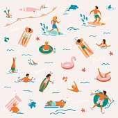 Summer time beach illustration in vector. People swimming, have a fun, sunbathing and relaxing in the ocean.