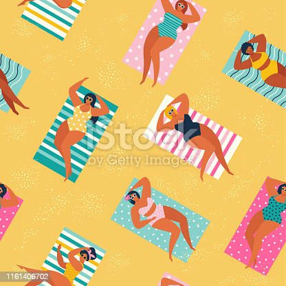 Summer time beach illustration in vector. People swimming, sunbathing and relaxing in the ocean.