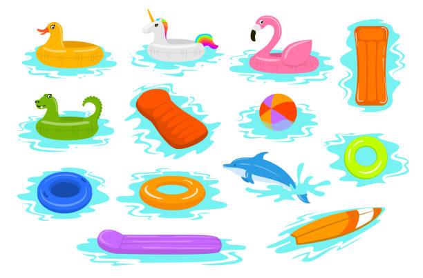 ilustrações de stock, clip art, desenhos animados e ícones de summer time beach sea vacation holidays inflatable floats rings tubes mattress set - jump pool, swimmer