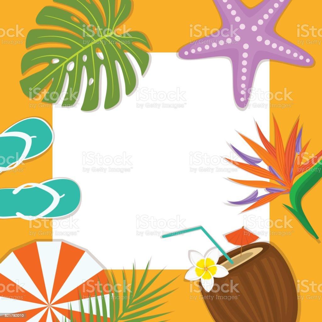 夏の時間ビーチ旅行フレーム カード背景テンプレート フリップ フロップ