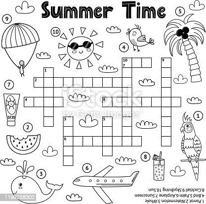 Summer time black and white crossword game. Educational activity sheet for children about travelling and vacation. Coloring page for kids. Vector illustration