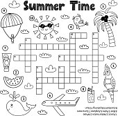 Summer time black and white crossword game. Educational activity sheet for children