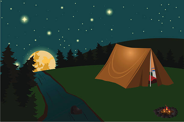 Best Camping Tent Night Illustrations, Royalty-Free Vector ...