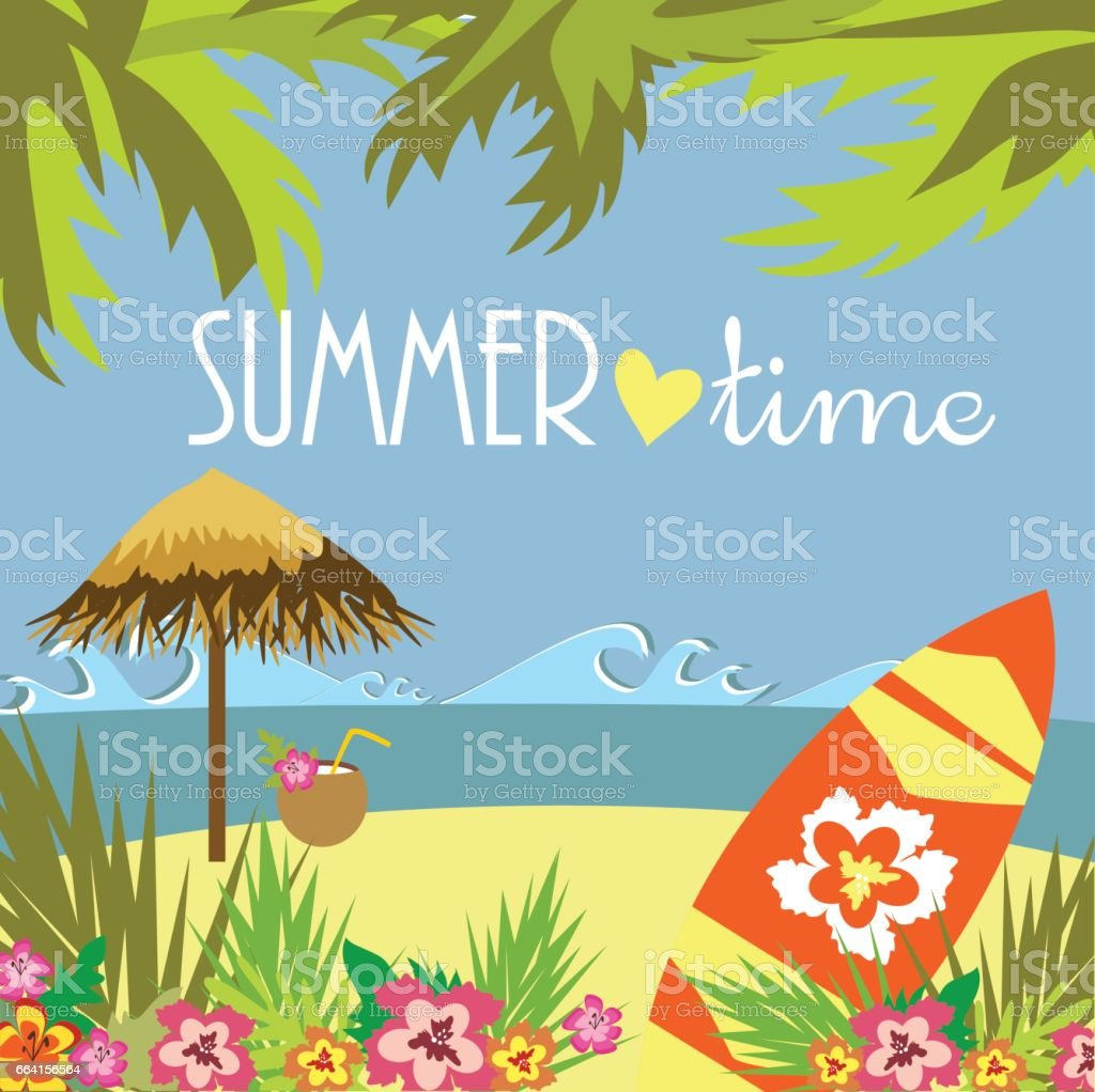 Summer time card vector art illustration