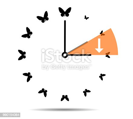 905623256 istock photo Summer time, clock with butterflies 990154064