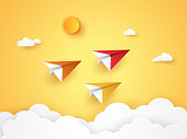Summer time , Colorful origami plane flying in the sky , paper art style