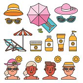 Summer time concept. Illustrations for infographic