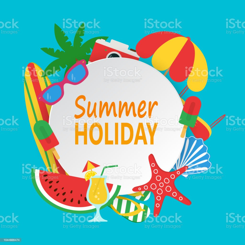 05177fab3ec0a Summer time concept with white circle for text and colorful beach elements.  Summer holiday design with palm