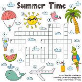 Summer time crossword game for kids