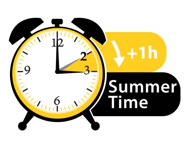 summer time. daylight saving time. spring forward alarm clock vector icon. - spring forward stock illustrations, clip art, cartoons, & icons
