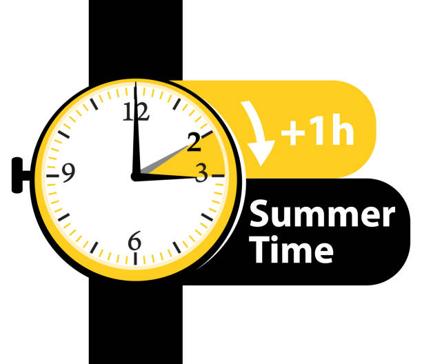 summer time. daylight saving time. spring forward alarm watch vector icon. - spring forward stock illustrations, clip art, cartoons, & icons
