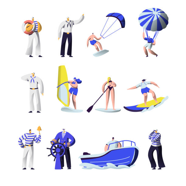 ilustrações de stock, clip art, desenhos animados e ícones de summer time extreme sports and sea professions set. ship crew uniform, captain, sailors, surfing, sup board, paragliding, motor boat riding, sailing, vacation, leisure cartoon flat vector illustration - parapente