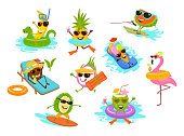 summer time funny tropical fruits , flamingo , ice cream cartoon characters chilling on the beach pool vacation  set