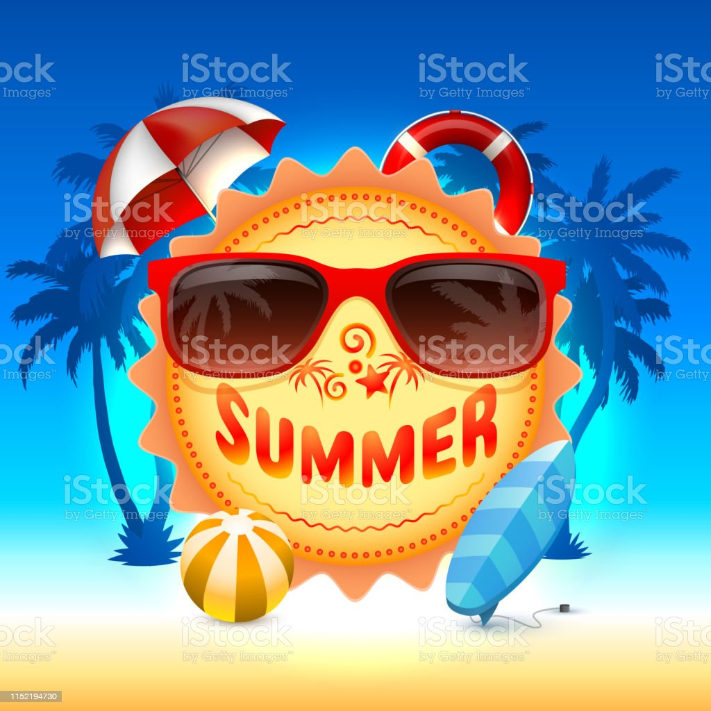 Summer time, holiday cover banner design, elements in sky background....