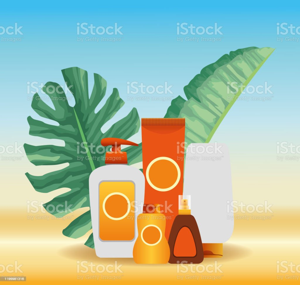 Summer Time In Beach Vacations Sun Bronzer And Sunblock Cream Skincare Tropic Foliage Stock Illustration Download Image Now Istock